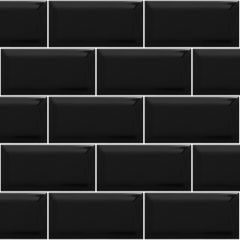 "3""X6"" Black Night Glass Tiles, Translucent, Clear Glass, 8 mm thickness, great for bathroom walls, kitchen backsplash, Korel Tile Store"