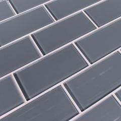 "3""X6"" Grey Glass Tiles, Translucent, Clear Glass, 8 mm thickness, great for bathroom walls, kitchen backsplash, Korel Tile Store"